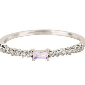 Dainty & Simple Single Baguette & CZ Ring, 6 or 7